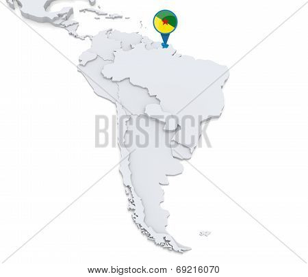 French Guiana On A Map Of South America