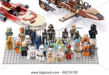 Ankara, Turkey - July 07, 2012: Lego Star Wars minifigures in front of Luke's Landspeeder
