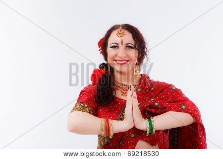 European Girl In Red Indian Saree