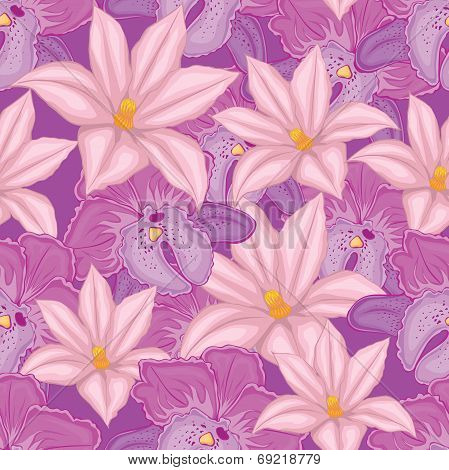 lilac seamless background with pink and lilac orchids