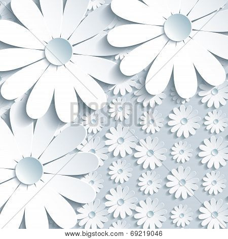 Stylish Grey Background With 3D White Chamomile