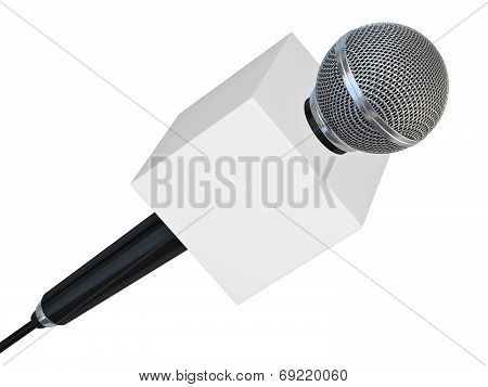 Microphone With Blank Box For Press Or Tv