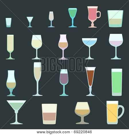 Alcohol cocktail glasses set