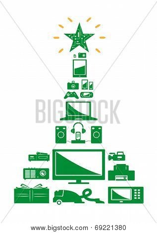 Christmas Tree Electronics. Isolated on white