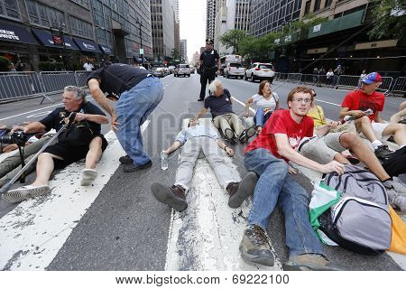 Activists laying down on 2nd Avenue