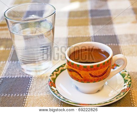 Strong Cypriot Coffee With Water Water In A Glass