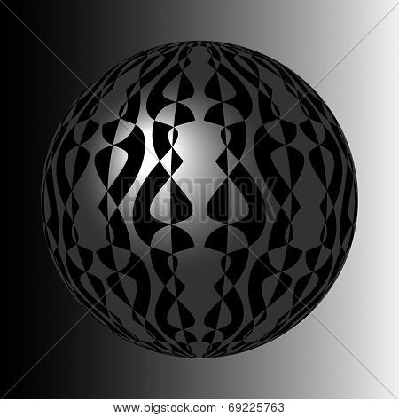 shiny silver sphere with black pattern