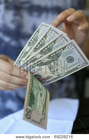 Woman Hands Holding Money