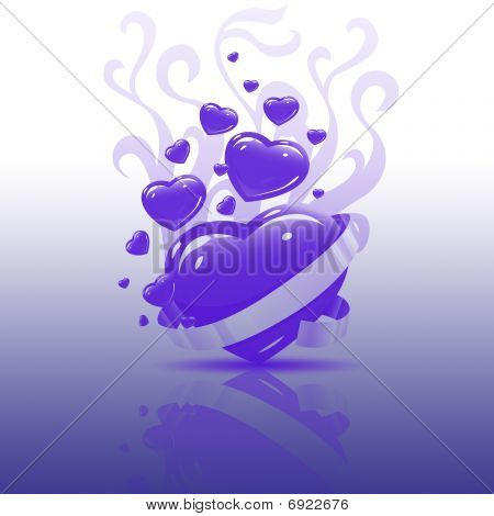 Purple Heart on glass Reflection