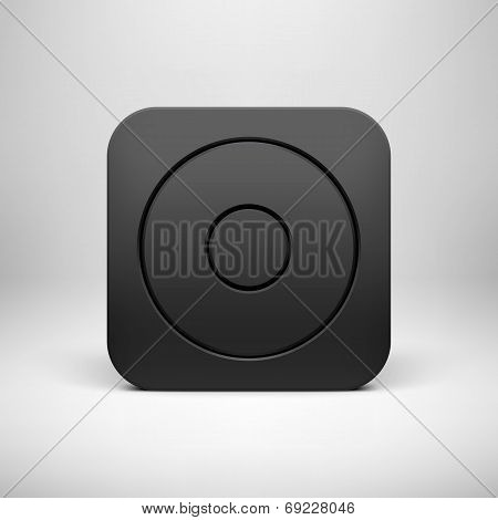 Black Abstract App Icon Button Template