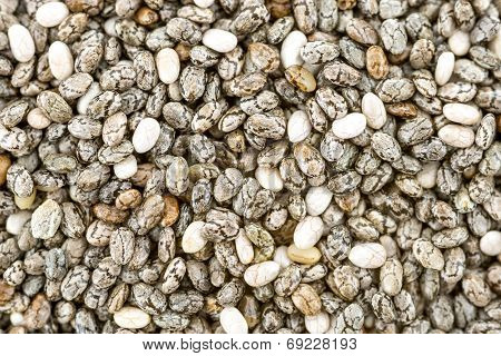 Background Closeup Of Dried Chia Seeds