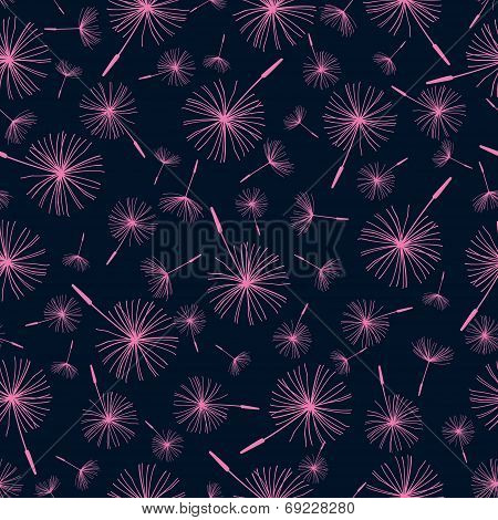 Beautiful Seamless Pattern With Dandelion Fluff