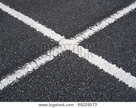 Car Park White Lines Criss Crossing