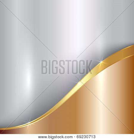 Vector abstract precious metallic background with curve