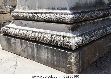 Elaborately Decorated Bases Of The Massive Columns  Of The Apollo Temple  At Didyma,  Turkey.