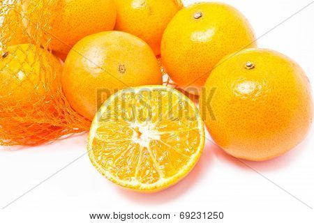 Oranges with plastic net.