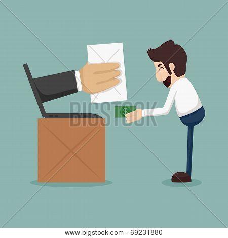 Businessman Online Shopping, E-commerce Concept