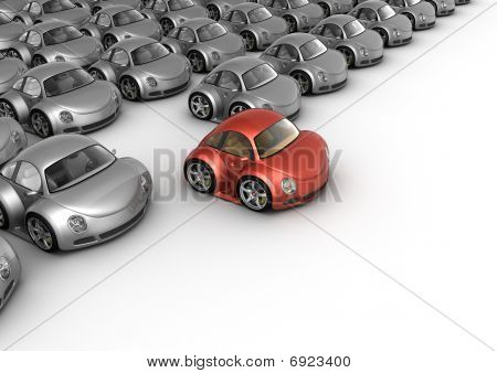 Special Red Car In Front Of Many Grey Cars