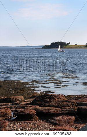 Rocky Shore And Sailboat