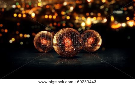 Three Orb Orange 3D Bokeh City Background Loop Animation