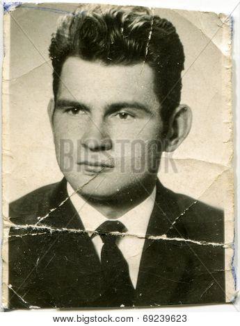 SIERADZ, POLAND, CIRCA SIXTIES - Vintage portrait of man