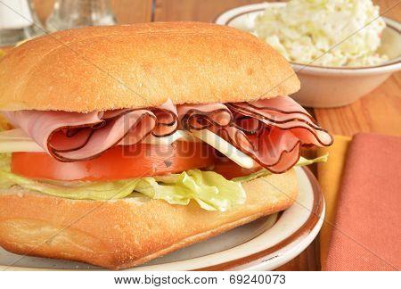 Ham And Cheese Sandwich Closeup