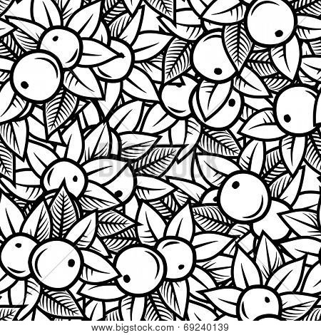 Seamless apple pattern in engraving style. Vector