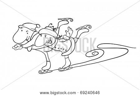 Cartoon couple scating on the ice. Contour vector illustration.