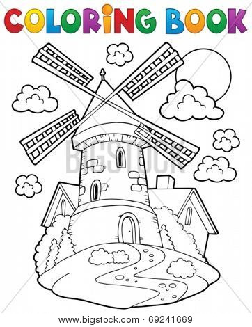 Coloring book windmill 1 - eps10 vector illustration.