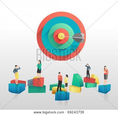 Business people and colourful pie chart segments and target on grey background