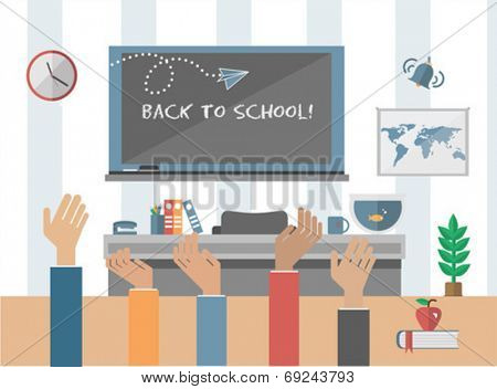 Digitally generated Back to school message on chalkboard in classroom