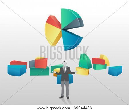 Pie chart with segments broken off and businessman standing on grey background