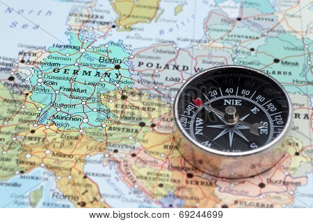 Travel Destination Germany, Map With Compass
