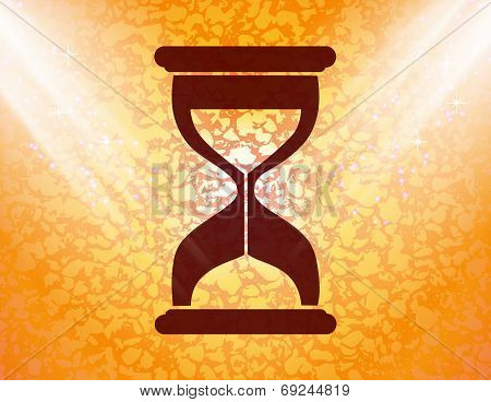 Sand clock. Glass timer . Flat modern web button and space for your text