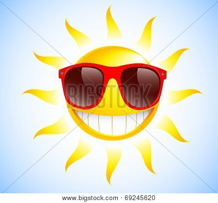 Funny summer sun with sunglasses. Vector illustration background