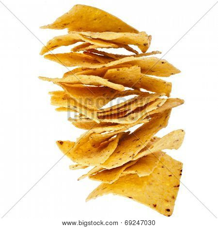 Tower heap of Mexican nachos isolated on white background