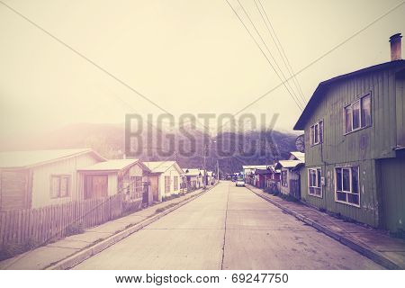 Vintage Picture Of Mountain Village Street.