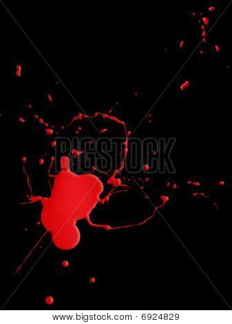 Blood Splat On Black Background