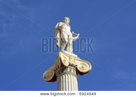 Statue Of Apollo Outside Academy Of Athens, Greece