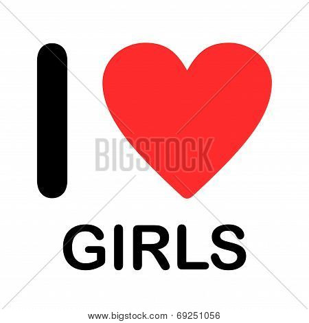 Font Type Illustration - I Love Girls