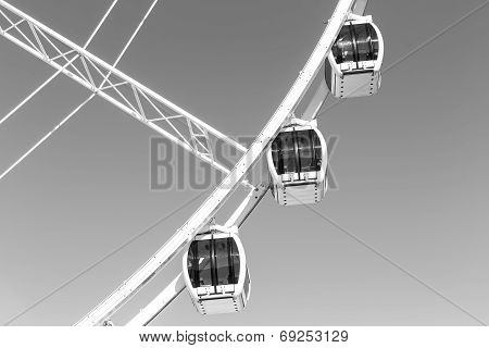 Close up of carriages on a Ferris Wheel