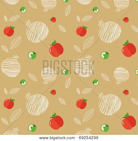 illustration of Rosh Hashanah background with pomegranates and apples