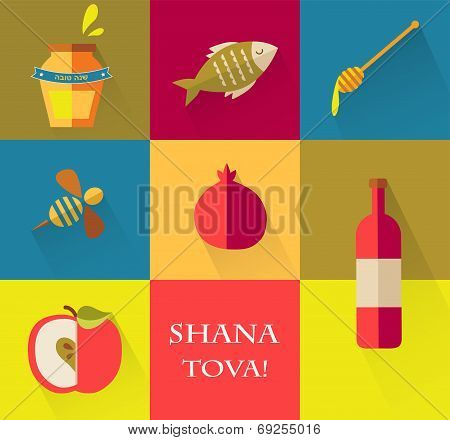 Set of icons for Jewish holiday Rosh Hashana.