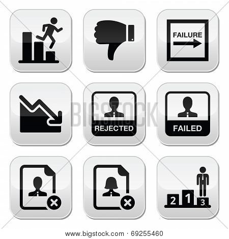 Failure, rejected man buttons set