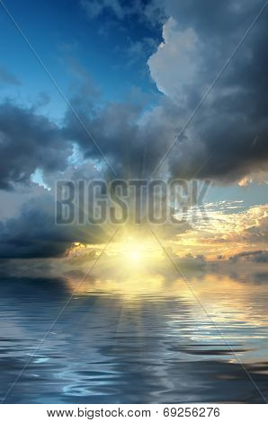 Dramatic Sky And Sun Rays At Sunset