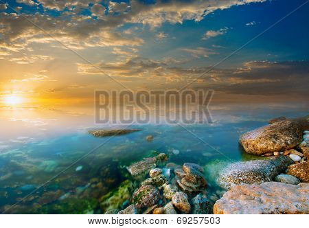 Coastal Rocks And Sunset