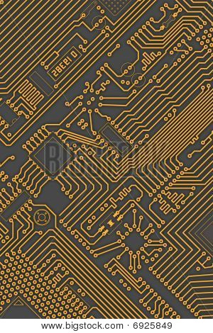 Circuit Board Industrial Yellow - Gray Background