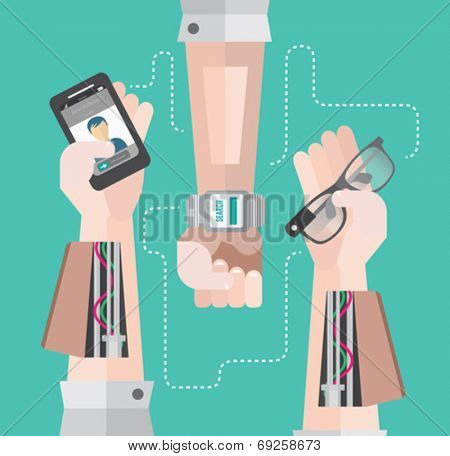 Robotic arms with smartphone and smart watch on teal background