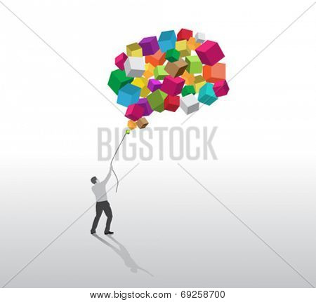 Businessman holding down cube balloons on grey background