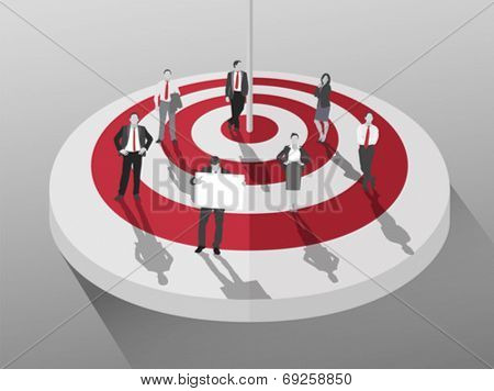 Business people standing around red and white target on grey background